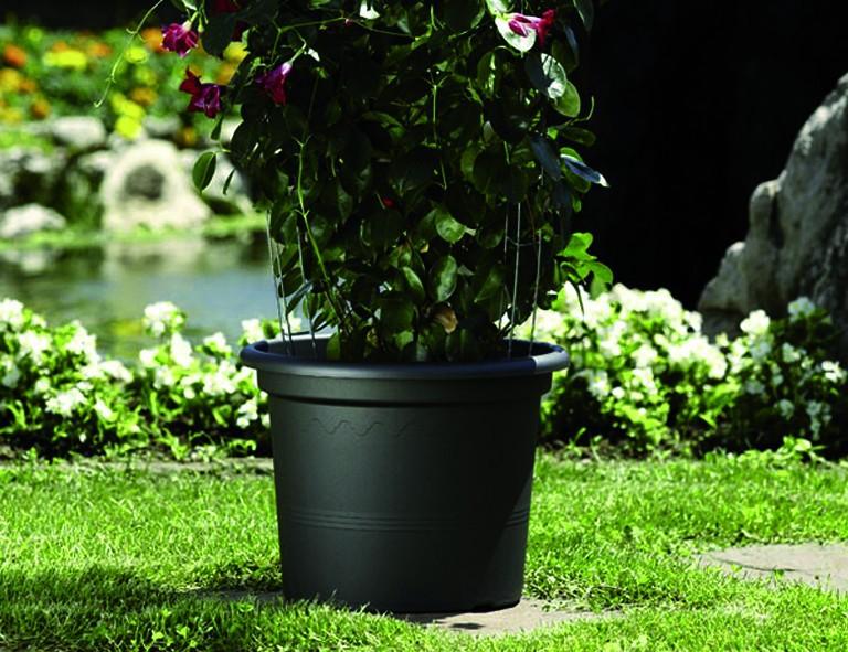 Euro3Plast Pflanzenkübel Geo, schw., R x H: 20 x 15 cm