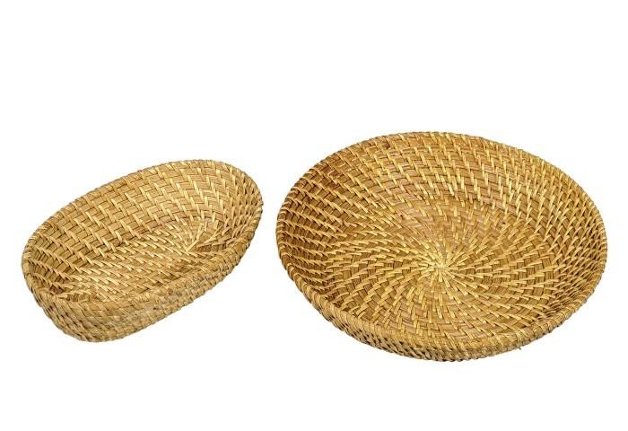 LOCKER Dekoschale Rattan oval 25x16cm, braun