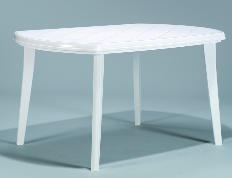 Jardin Elise Tisch 137x90cm weiß oval, Vollkunststoff