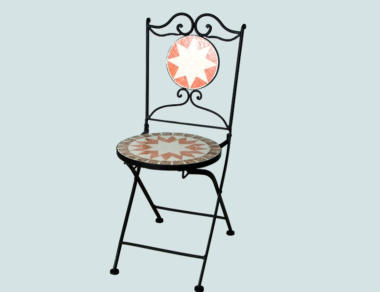 H&G Klappstuhl Finca, L 43 x B 43 x H 92 cm, klappbar Gestell schwarz/mit Mosaik-Sitzfläche