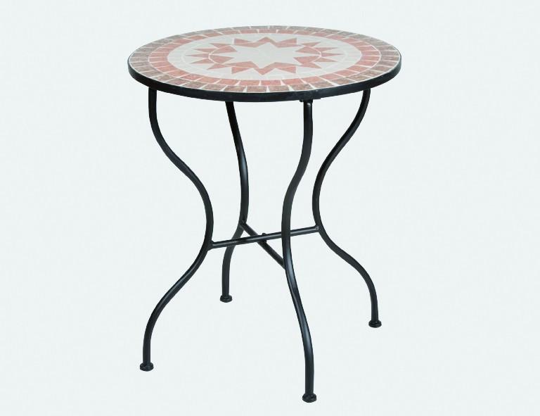 Siena Garden Tisch Finca, Ø 60 x H 71 cm, Gestell schwarz/mit Mosaik-Platte 60 cm rund