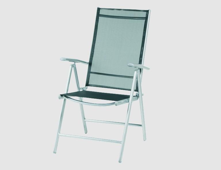 H&G Klappsessel -Saturn- silber/schwarz Aluminiumgestell silber, Textilene-Gewebe schwarz