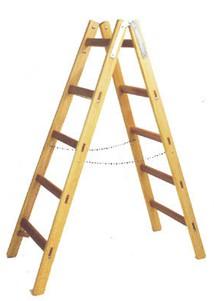 Leifheit Holz Doppelsprossen-Stehleiter 2 x 4 Sprossen, H�he aufgestellt: 128 cm