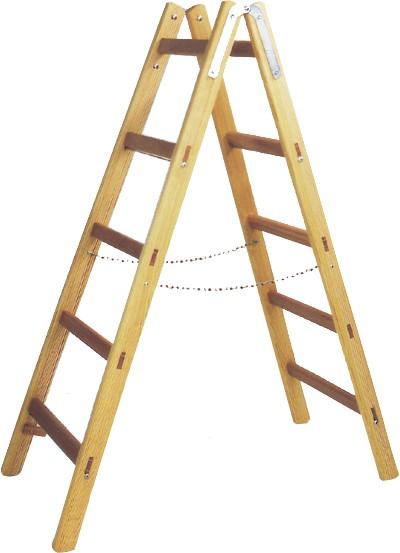 Holz Doppelsprossen-Stehleiter