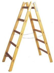 Leifheit Holz Doppelsprossen-Stehleiter 2 x 7 Sprossen, H�he aufgestellt: 210 cm