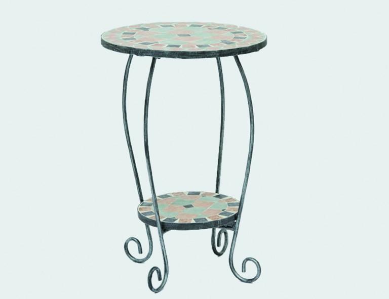 Siena Garden Eisen-Blumenständer Fiore 54x41 cm, Platte in Mosaikoptik