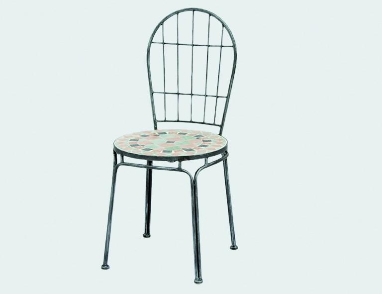 Siena Garden Eisen-Stapelsessel Fiore grau mit Mosaik-Optik Sitzfläche