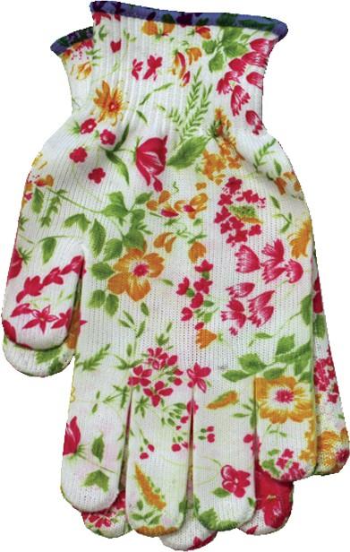 Blumendekor-Damenhandschuhe Gr. 9, Nylon