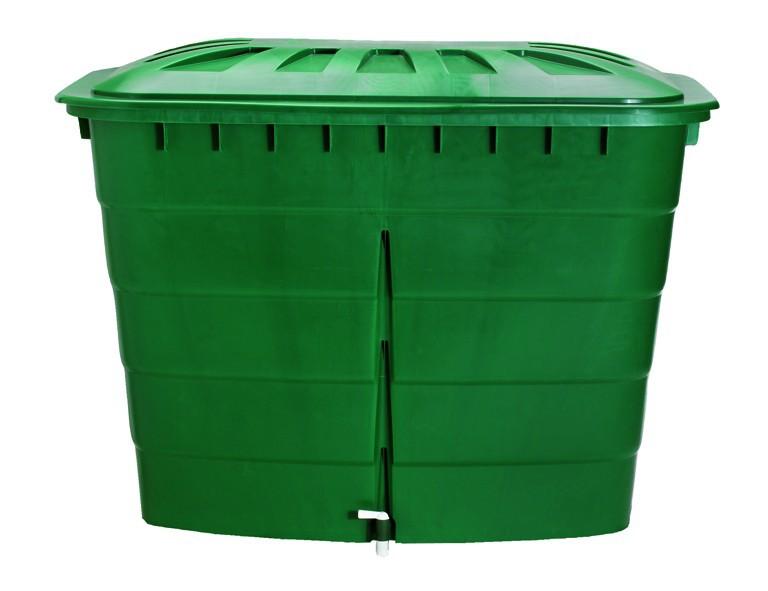 OTTO GRAF Regentonne eckig 520L grün, mit Deckel und Hahn