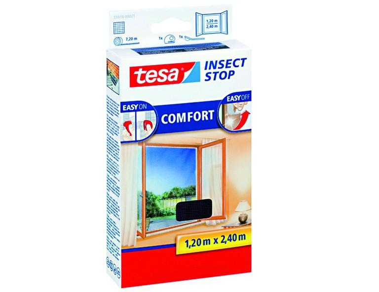 Tesa 55918-21-00 Fliegengitter anthrazit 120 x 240 / Comfort-Fenster