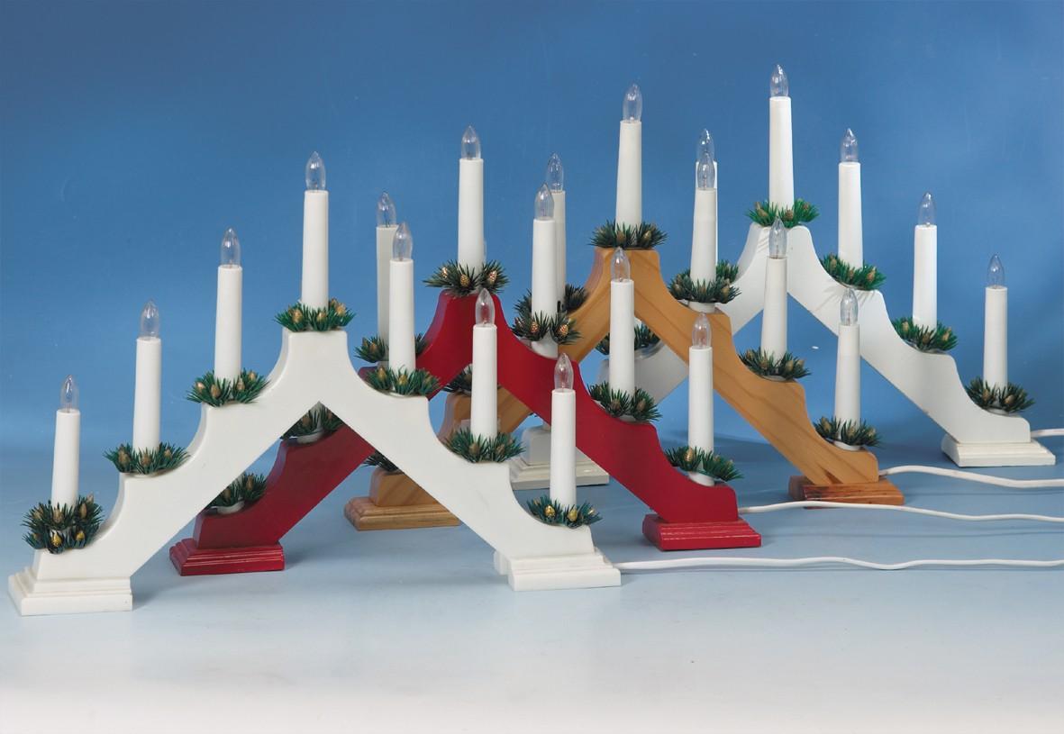 Stimmungsleuchter natur  Mit 7 Kerzen und Kerzenringen