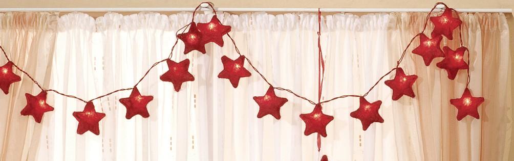 Sternenkette rot Sisal Sisal, mit 20-teiliger Minilichterkette