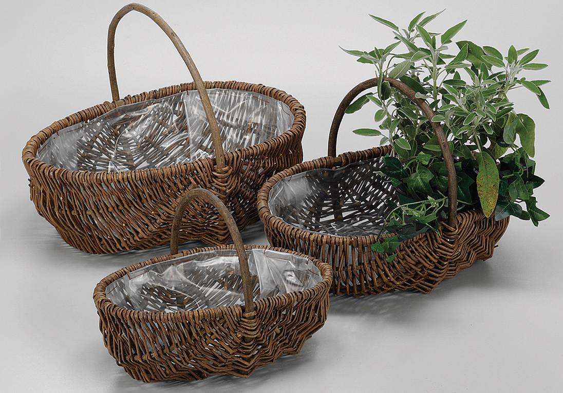 Pflanzkorbsatz Natürlich Pflanzen Aus ungeschälter Weide Mit Folie ausgesch