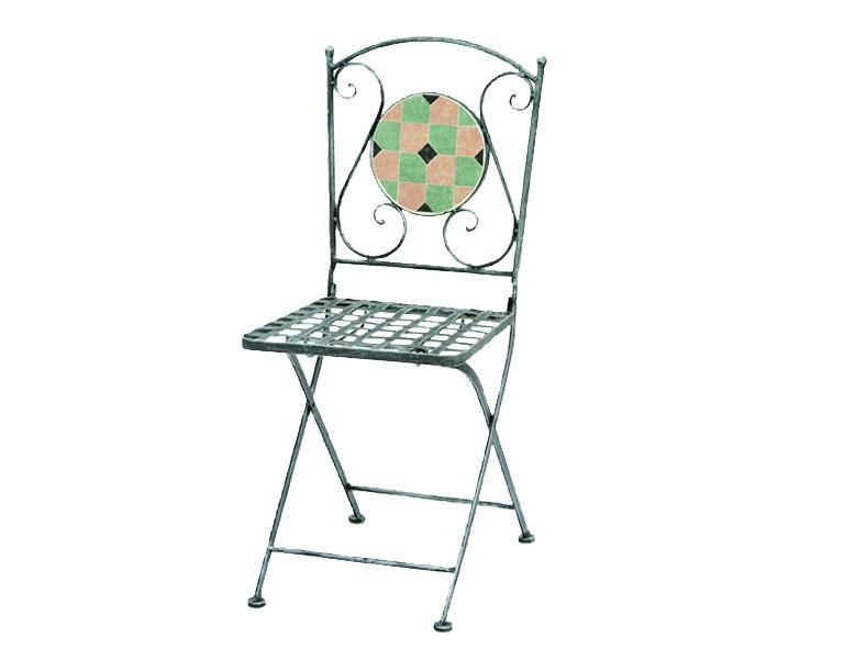 Siena Garden Eisen-Klappstuhl Fiore grau mit Mosaik-Optik Sitzfläche
