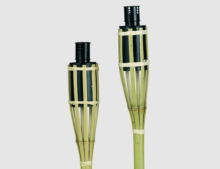 Bambus-Gartenfackeln, 60cm, 3er Pack, sortiert, mit Petroleumbehälter und Docht