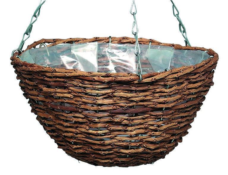 Gardman Weide-Hängeampel Rustikal, Durchmesser 30 cm aus Naturmaterial