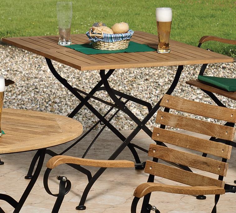 Siena Garden Eisen-/Teak-Klapptisch Peru 120x80 cm eckig, Gestell schwarz