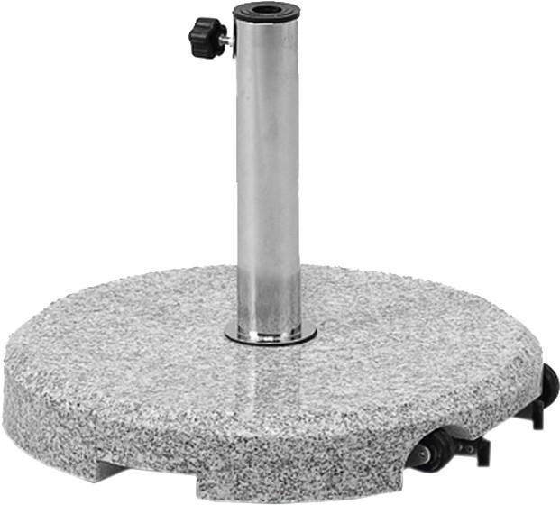 Siena Garden Granitschirmständer, 40 kg, rund Ø 50 cm Edelstahlrohr, mit Griff und Rolle