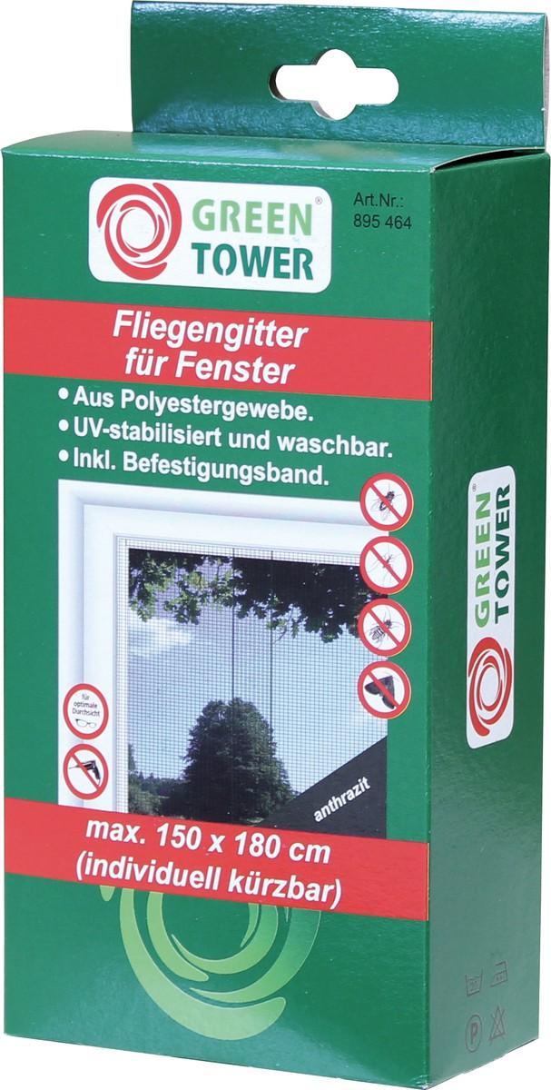 Unimet Fliegengitter f�r Fenster, anthrazit, 150x180 cm