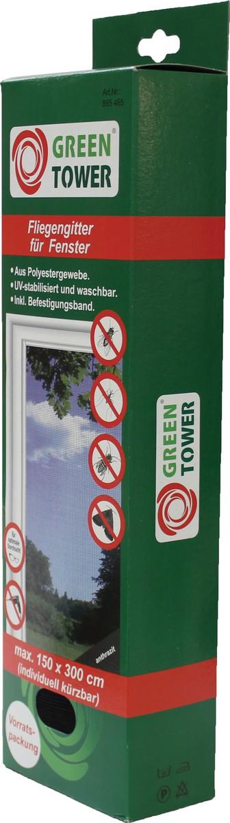 Unimet Fliegengitter f�r Fenster, anthrazit, 150x300 cm